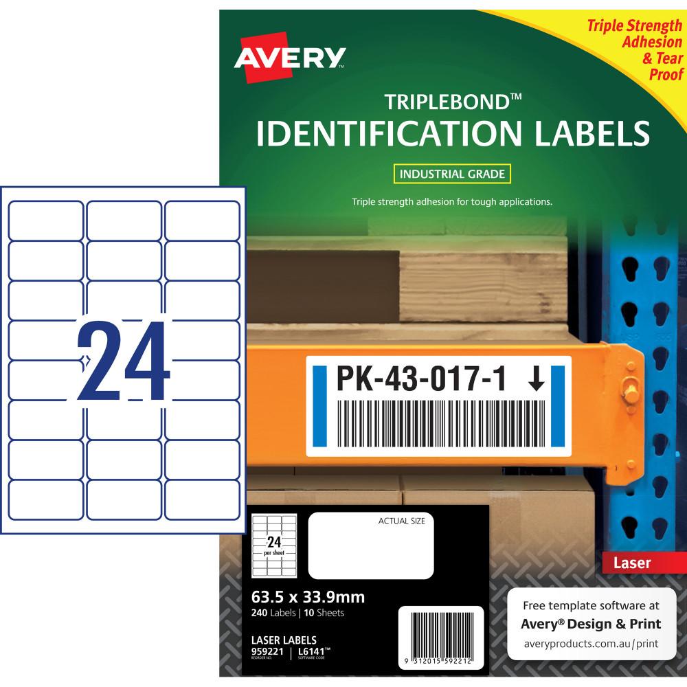 Avery 959221 Triple Bond Industrial Labels White L6141