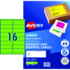 AVERY L7162FG LASER LABELS 16/Sht  99.1x34mm Fluoro Green
