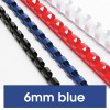 REXEL BINDING COMB 6mm 21Loop 25Sht Cap Blue