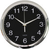ITALPLAST WALL CLOCK 30cm Chrome Frame/Black Face