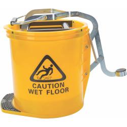 CLEANLINK H/DUTY MOP BUCKET Metal Wringer 16 Litre Yellow