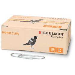 BIBBULMUN PAPER CLIPS 28mm Pack of 100